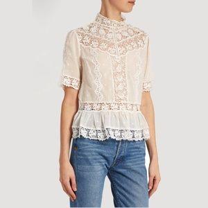 Rebecca Taylor white cotton-voile top in off White